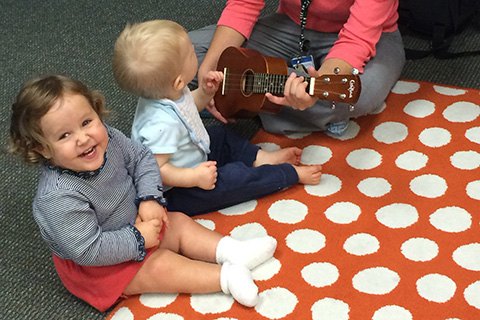 children learning about instruments in Music Therapy Class